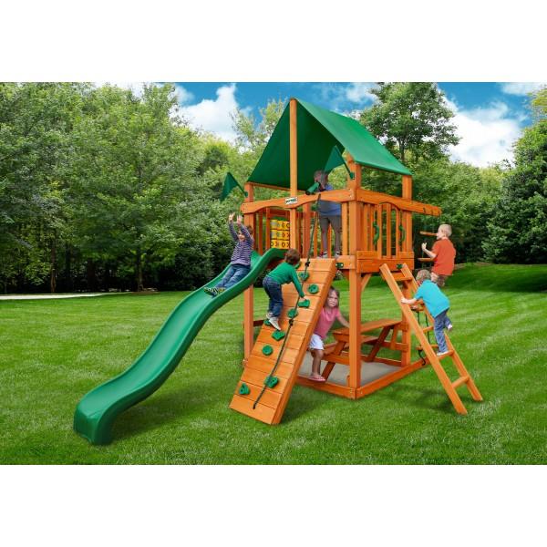 Gorilla Chateau Tower Cedar Wood Swing Set Kit W Amber