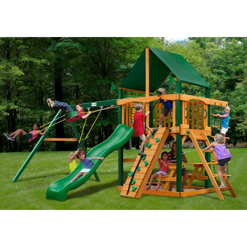 Gorilla Chateau Cedar Wood Swing Set Kit w/ Timber Shield™ and Sunbrella® Canvas Forest Green Canopy - Amber (01-0003-TS-2)