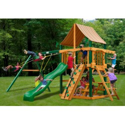 Gorilla Chateau Cedar Wood Swing Set Kit w/ Timber Shield™ and Sunbrella® Weston Ginger Canopy - Amber (01-0003-TS-3)