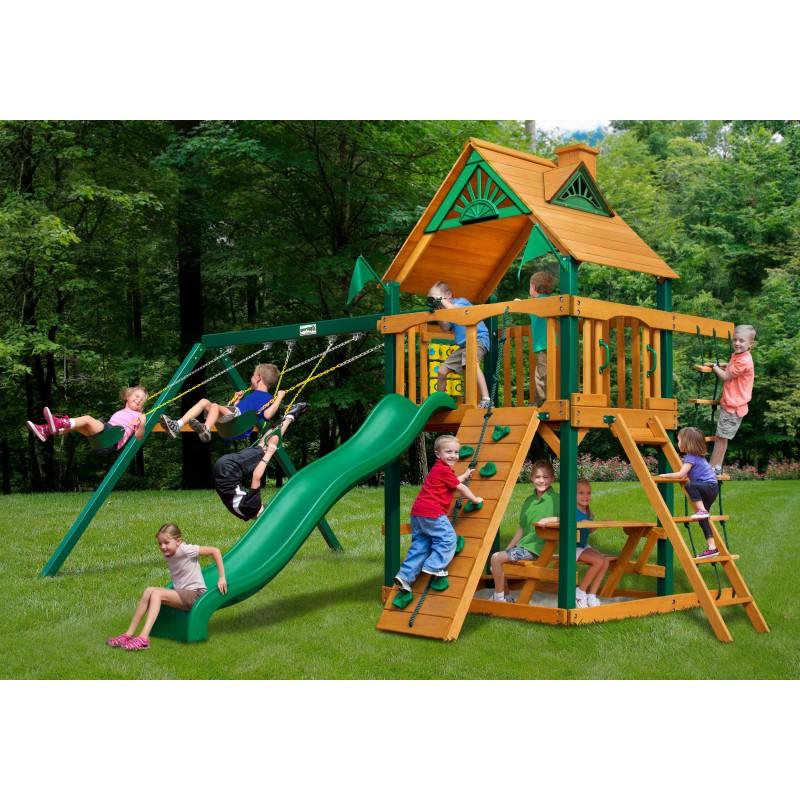 Gorilla Chateau Cedar Wood Swing Set Kit w/ Timber Shield™ and Standard Wood Roof - Amber (01-0003-TS)