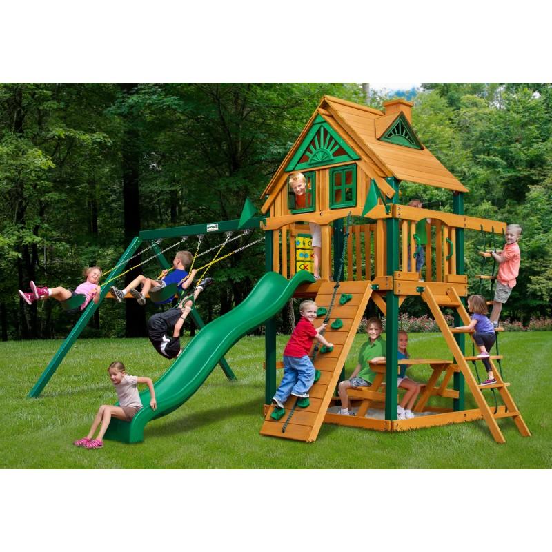 Gorilla Chateau Treehouse Cedar Wood Swing Set Kit w/ Fort Add-On & Timber Shield™ - Amber (01-0064-TS)