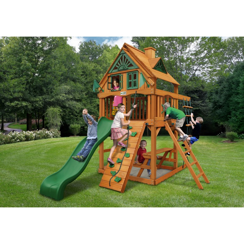 Gorilla Chateau Tower Treehouse Cedar Wood Swing Set Kit w/ Amber Posts - Amber