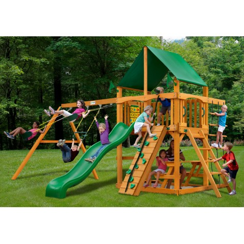Gorilla Chateau Cedar Wood Swing Set Kit w/ Amber   Posts and Deluxe Green Vinyl Canopy - Amber (01-0003  -AP-1)
