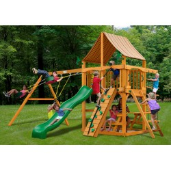 Gorilla Chateau Cedar Wood Swing Set Kit w/ Amber Posts and and Sunbrella® Weston Ginger Canopy - Amber (01-0003-AP-3)