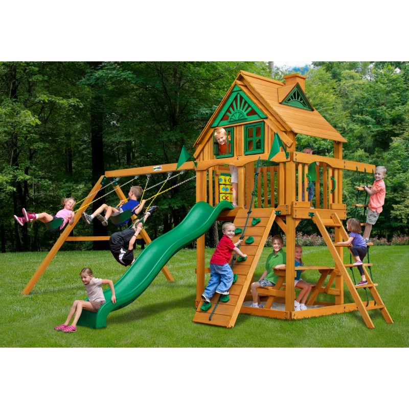 Gorilla Chateau Treehouse Cedar Wood Swing Set Kit w/ Amber Posts - Amber (01-0050-AP)