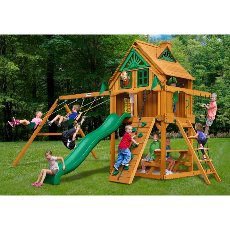 Gorilla Chateau Treehouse Cedar Wood Swing Set Kit W Fort Add On