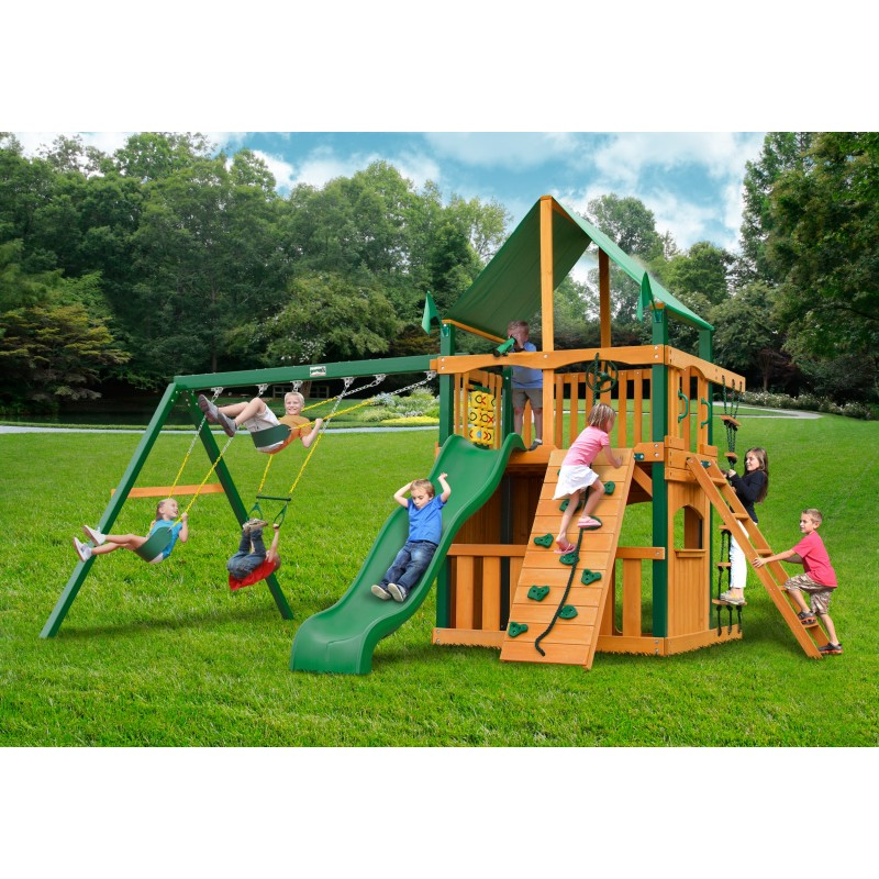 Gorilla Chateau Clubhouse Wood Swing Set Kit w/ Timber Shield™ and Deluxe Green Vinyl Canopy - Amber (01-0035-TS-1)