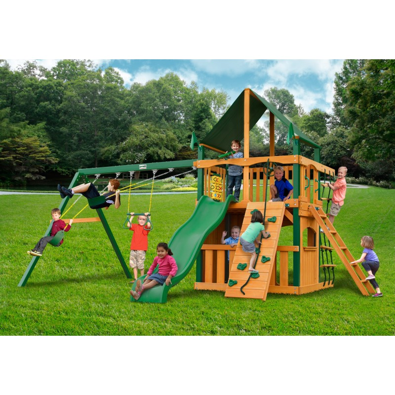 Gorilla Chateau Clubhouse Wood Swing Set Kit w/ Timber Shield™ and Sunbrella® Canvas Forest Green Canopy - Amber (01-0035-TS-2)