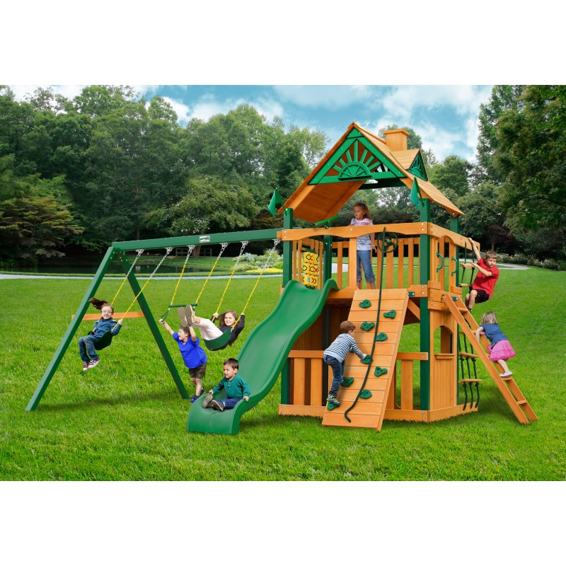 Gorilla Chateau Clubhouse Wood Swing Set Kit w/ Timber Shield™ and Standard Wood Roof - Amber (01-0035-TS)