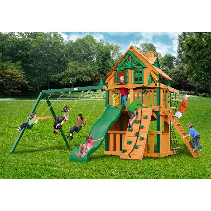 Gorilla Chateau Clubhouse Treehouse Wood Swing Set Kit w/ Fort Add-On & Timber Shield™ - Amber (01-0065-TS)