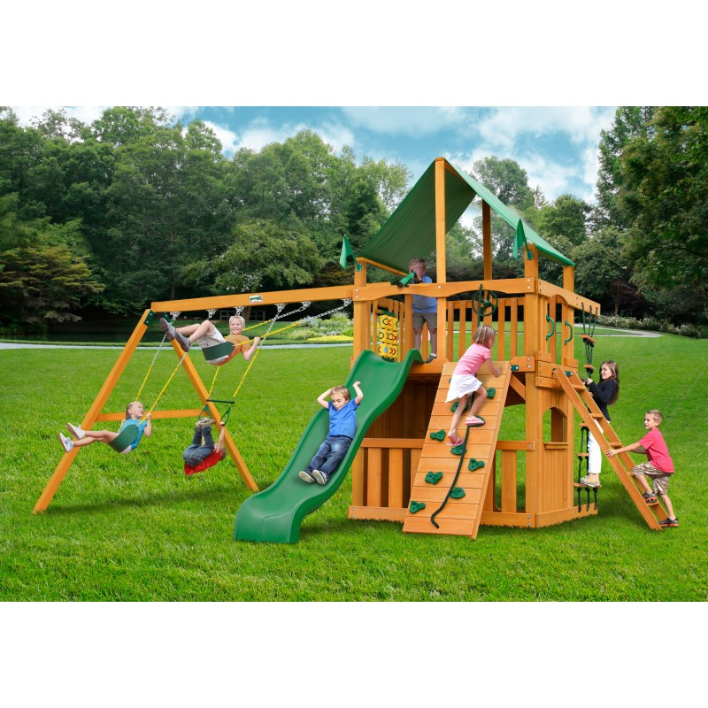 Gorilla Chateau Clubhouse Cedar Wood Swing Set Kit w/ Amber Posts and Deluxe Green Vinyl Canopy - Amber (01-0035-AP-1)