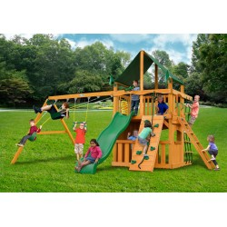 Chateau Clubhouse Swing Set w/ Amber Posts and and Sunbrella® Canvas Forest Green Canopy - Amber (01-0035-AP-2)