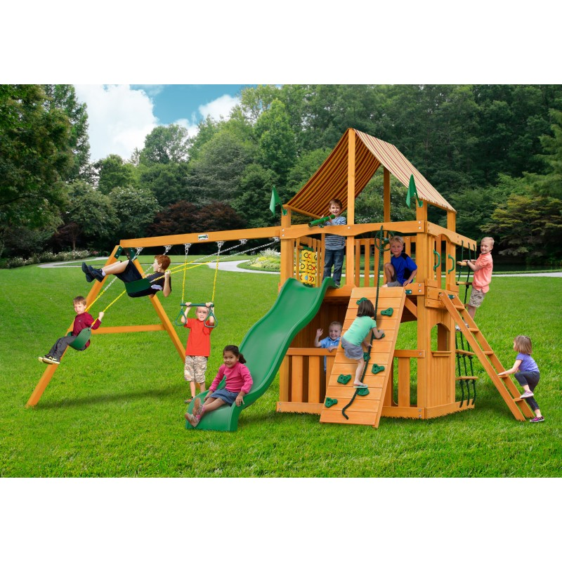 Gorilla Chateau Clubhouse Cedar Wood Swing Set Kit w/ Amber Posts and and Sunbrella® Weston Ginger Canopy - Amber (01-0035-AP-3)