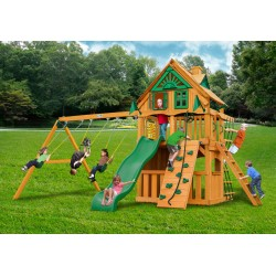 Gorilla Chateau Clubhouse Treehouse Cedar Wood Swing Set Kit w/ Amber Posts - Amber (01-0051-AP)