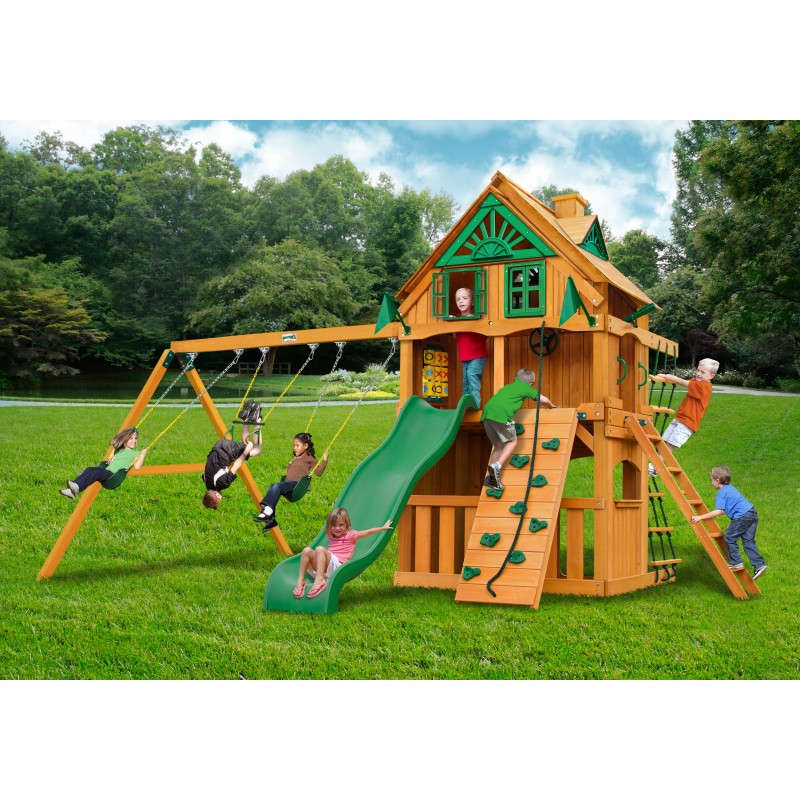 Gorilla Chateau Clubhouse Treehouse Cedar Wood Swing Set Kit w/ Fort Add-On and Natural Cedar - Amber (01-0065-AP)