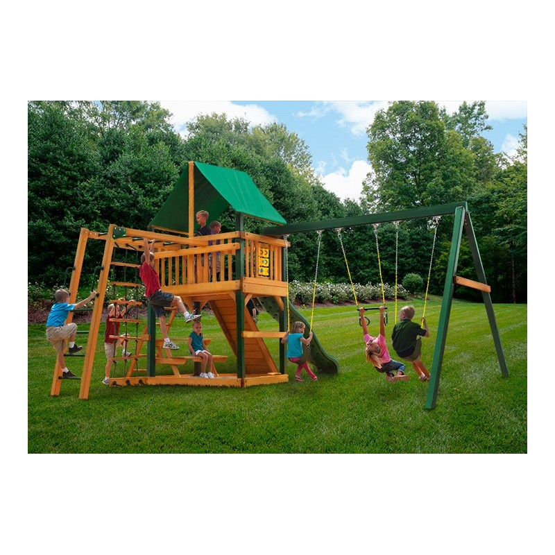 Gorilla Navigator Wood Swing Set Kit w/ Timber Shield™ and Deluxe Green Vinyl Canopy - Amber (01-0020-TS-1)