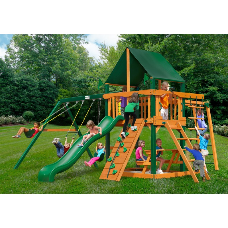 Gorilla Navigator Wood Swing Set Kit w/ Timber Shield™ and Sunbrella® Canvas Forest Green Canopy - Amber (01-0020-TS-2)