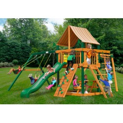Gorilla Navigator Wood Swing Set Kit w/ Timber Shield™ and Sunbrella® Weston Ginger Canopy - Amber (01-0020-TS-3)