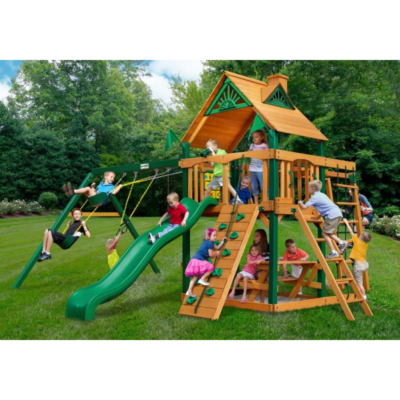 Gorilla Navigator Wood Swing Set Kit w/ Timber Shield™ and Standard Wood Roof - Amber (01-0020-TS)