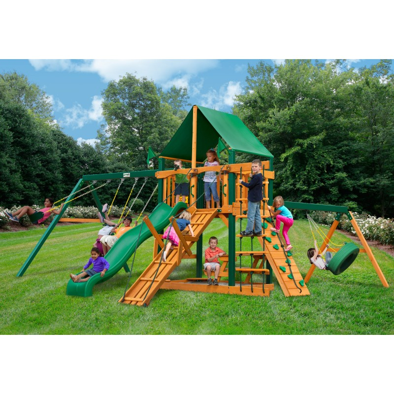Gorilla Frontier Wood Swing Set Kit w/ Timber Shield™ and Sunbrella® Canvas Forest Green Canopy - Amber (01-0004-TS-2)