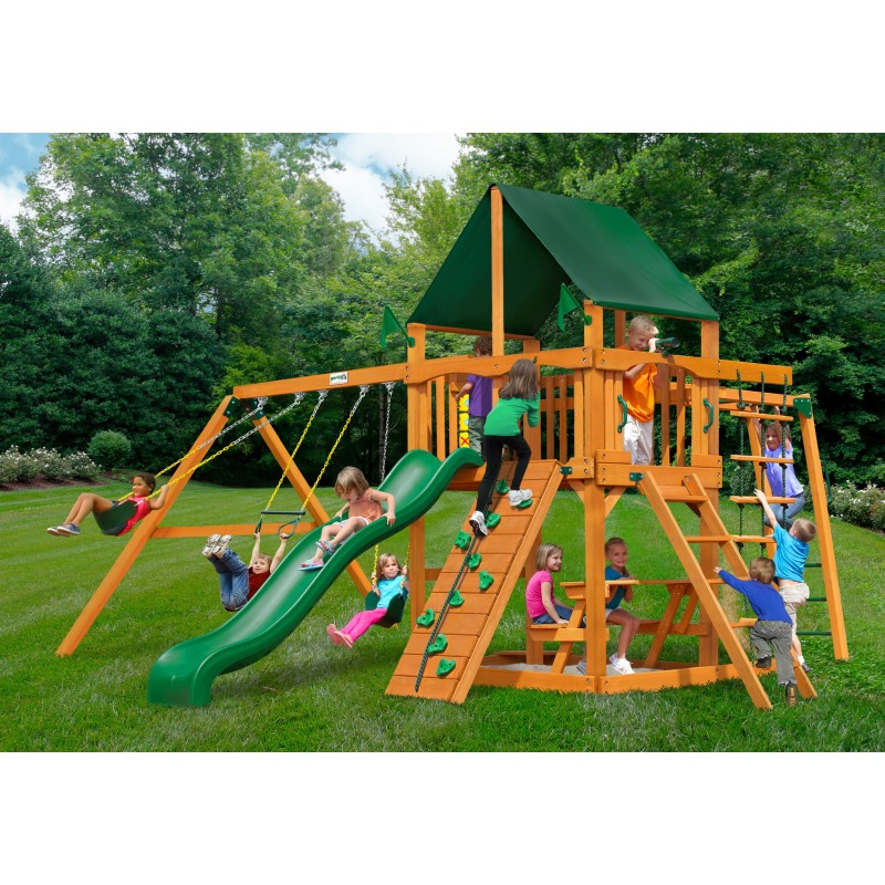 Gorilla Navigator Cedar Wood Swing Set Kit w/ Amber Posts and and Sunbrella® Canvas Forest Green Canopy - Amber (01-0020-AP-2)