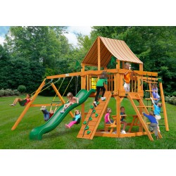 Gorilla Navigator Cedar Wood Swing Set Kit w/ Amber Posts and and Sunbrella® Weston Ginger Canopy - Amber (01-0020-AP-3)