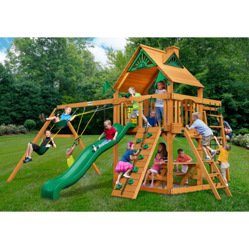 Gorilla Navigator Cedar Wood Swing Set Kit  w/ Amber Posts and Standard Wood Roof - Amber (01-0020-AP