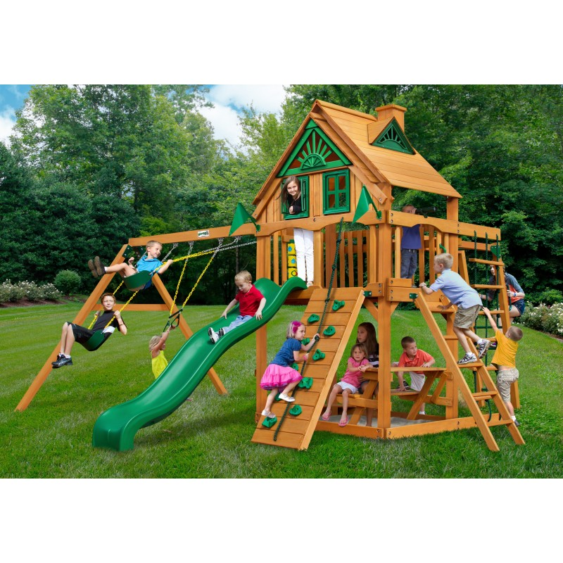 Gorilla Navigator Treehouse Cedar Wood Swing Set Kit w/ Amber Posts - Amber (01-0056-AP)