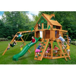 Gorilla Navigator Treehouse Cedar Wood Swing Set Kit w/ Fort Add-On & Amber Posts - Amber (01-0066-AP)