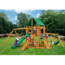 Gorilla Frontier Cedar Wood Swing Set Kit w/ Amber Posts and Deluxe Green Vinyl Canopy - Amber (01-0004-AP-1)