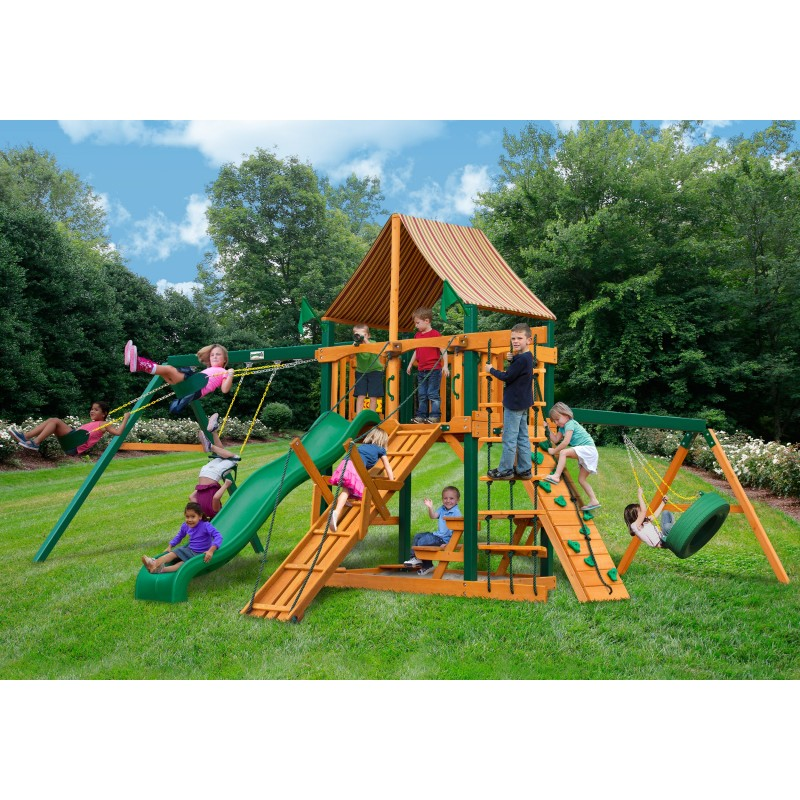 Gorilla Frontier Wood Swing Set w/ Timber Shield™ and Sunbrella® Weston Ginger Canopy - Amber (01-0004-TS-3)