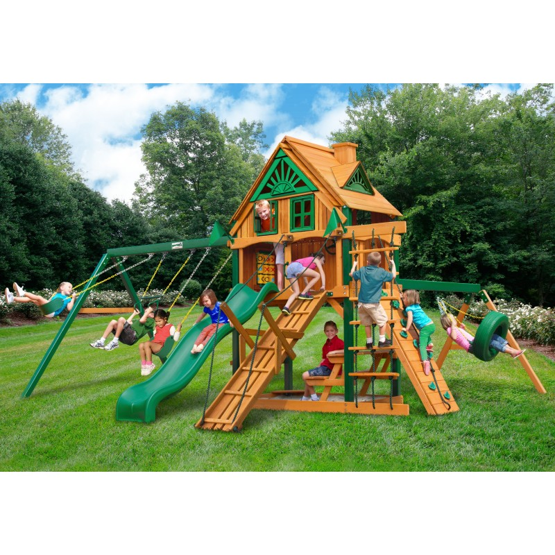 Gorilla Frontier Treehouse Wood Swing Set Kit w/ Fort Add-On & Timber Shield™ - Amber (01-0067-TS)