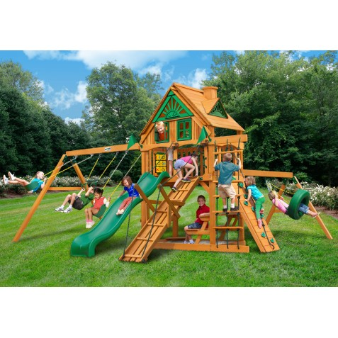Gorilla Frontier Treehouse Cedar Wood Swing Set Kit w/ Amber Posts - Amber (01-0052-AP)