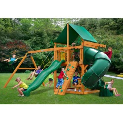 Gorilla Mountaineer Cedar Wood Swing Set Kit w/ Amber Posts and Deluxe Green Vinyl Canopy - Amber (01-0005-AP-1)