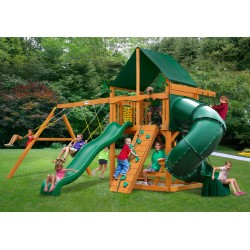 Gorilla Mountaineer Cedar Wood Swing Set Kit w/ Amber Posts and and Sunbrella® Canvas Forest Green Canopy - Amber (01-0005-AP-2)