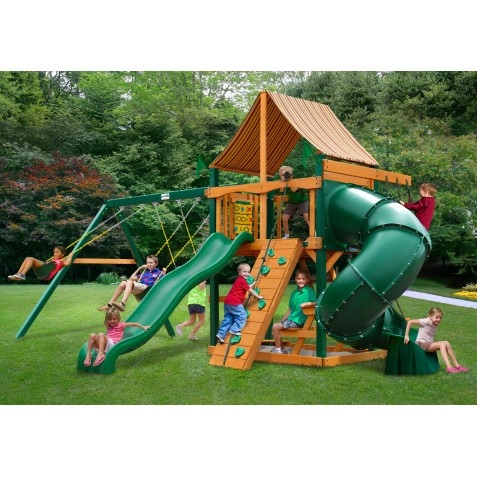 Gorilla Mountaineer Cedar Wood Swing Set Kit w/ Timber Shield™ and Sunbrella® Weston Ginger Canopy - Amber (01-0005-TS-3)