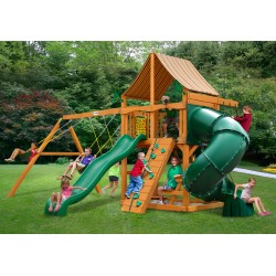 Gorilla Mountaineer Cedar Wood Swing Set Kit w/ Amber Posts and and Sunbrella® Weston Ginger Canopy - Amber (01-0005-AP-3)