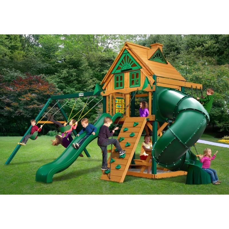 Gorilla Mountaineer Treehouse Cedar Wood Swing Set Kit w/ Timber Shield™ - Amber (01-0053-TS)
