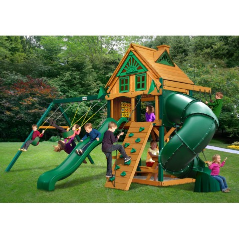 Gorilla Mountaineer Treehouse Cedar Wood Swing Set Kit w/ Fort Add-On & Timber Shield™ - Amber (01-0068-TS)