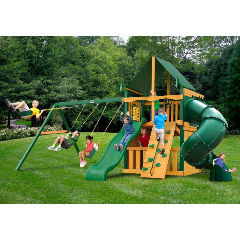 Gorilla Mountaineer Clubhouse Cedar Wood Swing Set Kit w/ Timber Shield™ & Sunbrella® Forest Green Canopy - Amber (01-0033-TS-2)
