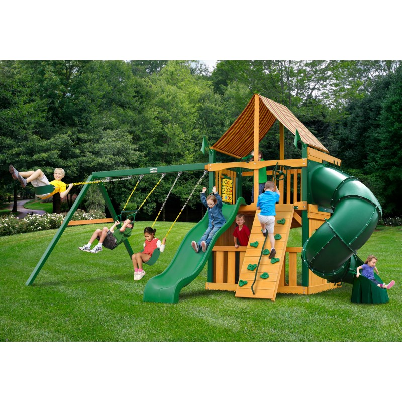 Gorilla Mountaineer Clubhouse Cedar Wood Swing Set Kit w/ Timber Shield™ and Sunbrella® Ginger Canopy - Amber (01-0033-TS-3)