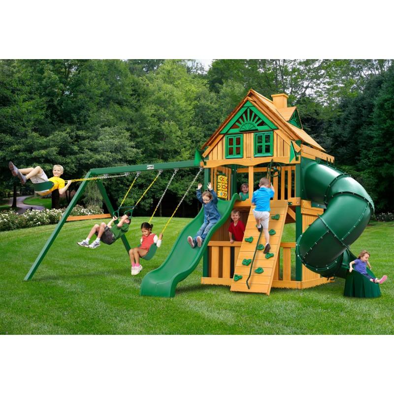 Gorilla Mountaineer Clubhouse Treehouse Cedar Wood Swing Set Kit w/ Timber Shield™ - Amber (01-0054-TS)