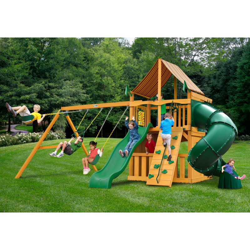 Gorilla Mountaineer Clubhouse Cedar Wood Swing Set Kit w/ Amber Posts and Sunbrella® Weston Ginger Canopy - Amber (01-0033-AP-3)