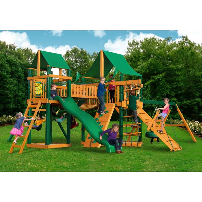 Gorilla Pioneer Peak Cedar Wood Swing Set Kit w/ Timber Shield™ and Deluxe Green Vinyl Canopy - Amber (01-0006-TS-1)