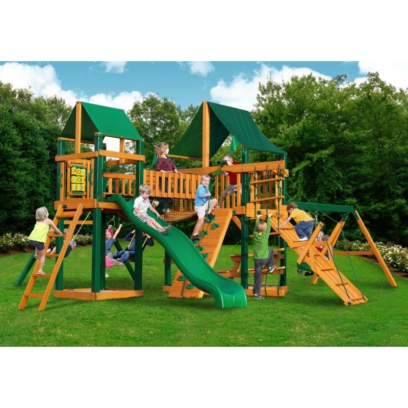 Gorilla Pioneer Peak Cedar Wood Swing Set Kit w/ Timber Shield™ and Sunbrella® Canvas Forest Green Canopy - Amber (01-0006-TS-2)