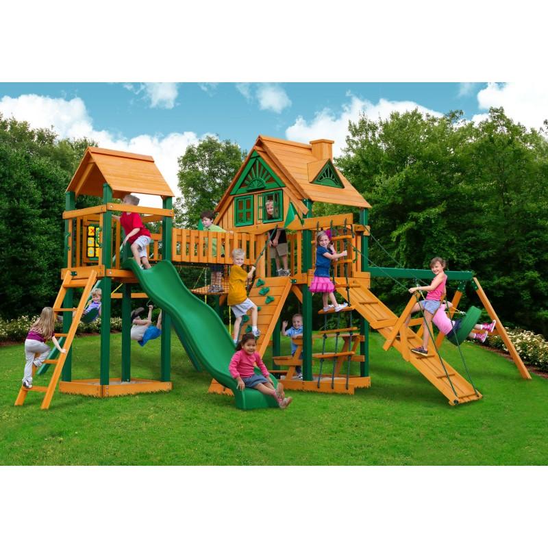 Gorilla Pioneer Peak Treehouse Cedar Wood Swing Set Kit w/ Timber Shield™ - Amber (01-0055-TS)