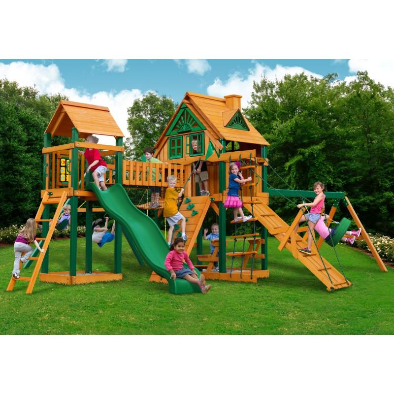 Gorilla Pioneer Peak Treehouse Cedar Wood Swing Set Kit w/ Fort Add-On & Timber Shield™ - Amber (01-0070-TS)