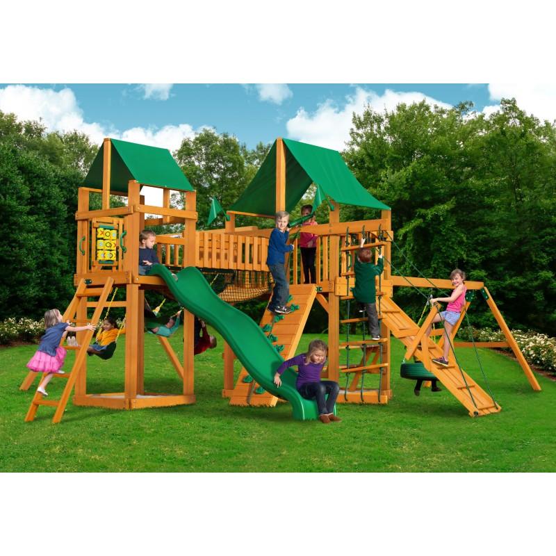Gorilla Pioneer Peak Cedar Wood Swing Set Kit w/ Amber Posts & Deluxe Green Vinyl Canopy - Amber (01-0006-AP-1)