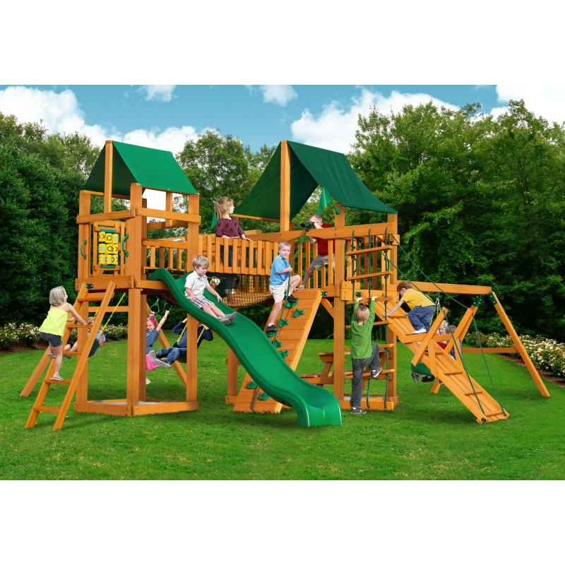 Pioneer Peak Cedar Wood Swing Set KIt w/ Amber Posts and Sunbrella® Canvas Forest Green Canopy - Amber (01-0006-AP-2)