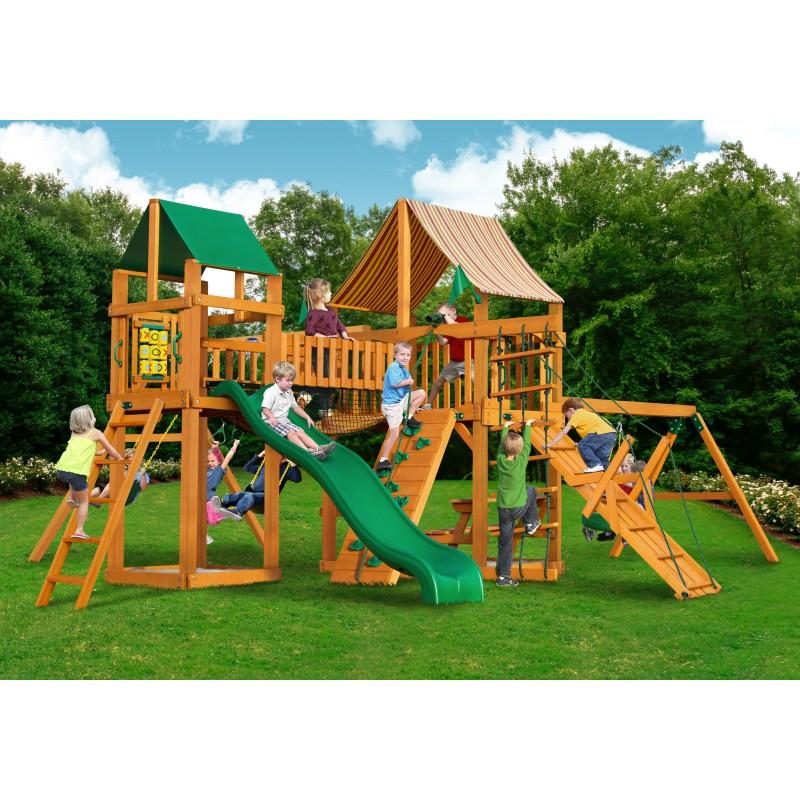 Gorilla Pioneer Peak Cedar Wood Swing Set Kit  w/ Amber Posts and Sunbrella® Weston Ginger Canopy - Amber (01-0006-AP-3)